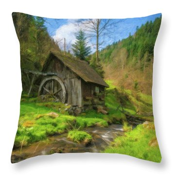 Old Black Forest Mill Throw Pillow