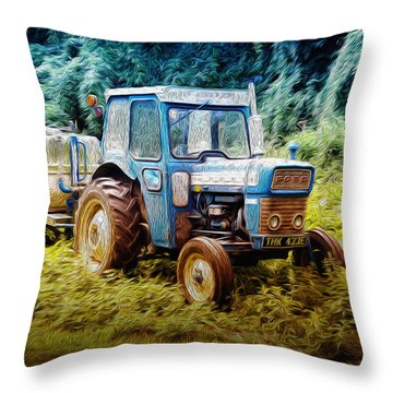 Old Blue Ford Tractor Throw Pillow
