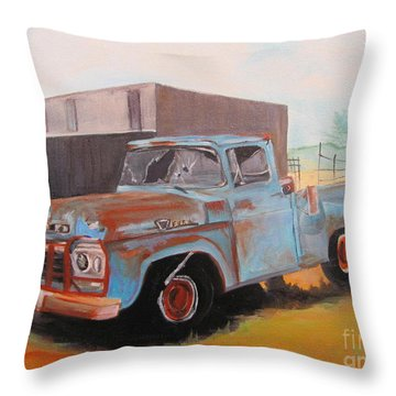 Old Blue Ford Truck Throw Pillow