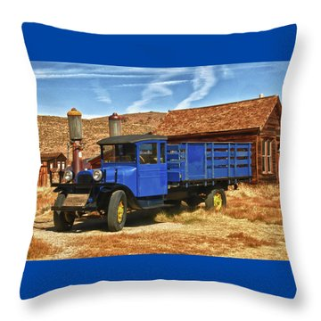 Old Blue 1927 Dodge Truck Bodie State Park Throw Pillow by James Hammond