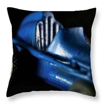 Old Blue Toy Race Car Throw Pillow by Wilma Birdwell