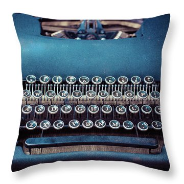 Throw Pillow featuring the photograph Old Blue Typewriter by Edward Fielding