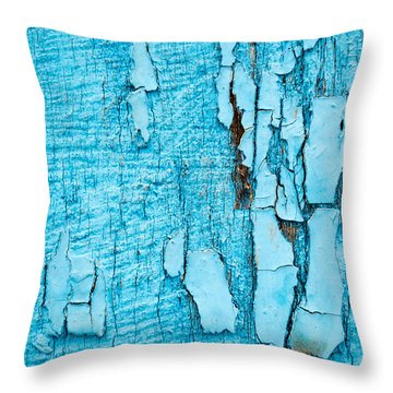 Old Blue Wood Throw Pillow