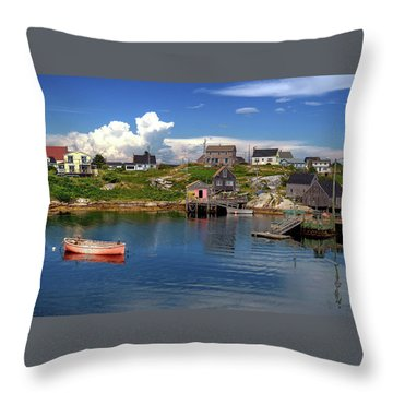 Throw Pillow featuring the photograph Old Boat At Peggy's Cove by Rodney Campbell