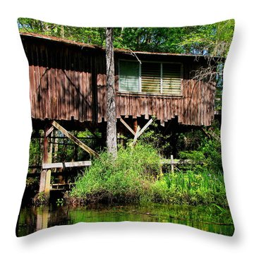 Throw Pillow featuring the photograph Old Boat House by Barbara Bowen
