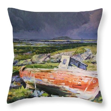 Old Boat On Shore Throw Pillow by Conor McGuire