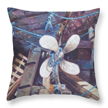 Old Boat Propeller Throw Pillow