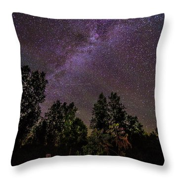 Old Boat Under The Stars Throw Pillow