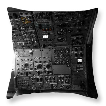 Old Boeing 727 Cockpit Throw Pillow by Micah May