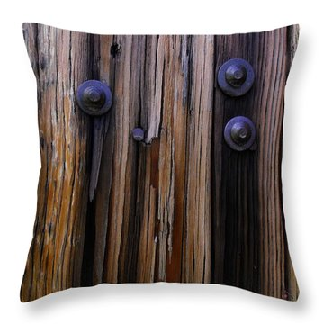 Old Door With Bolts And Nails Throw Pillow