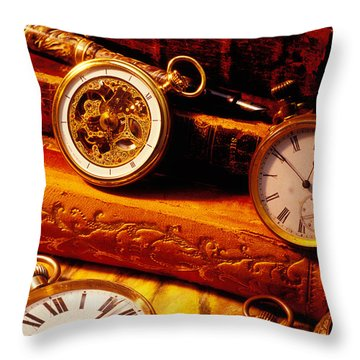 Old Books And Pocket Watches Throw Pillow by Garry Gay