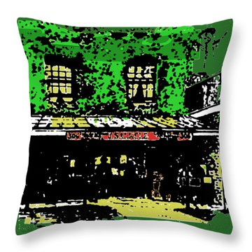 Throw Pillow featuring the digital art Old Bookshop by Asok Mukhopadhyay