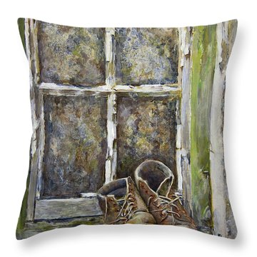 Old Boots Throw Pillow by Marty Garland