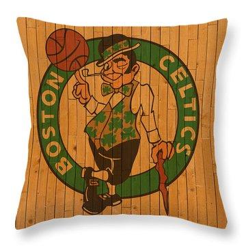Old Boston Celtics Basketball Gym Floor Throw Pillow