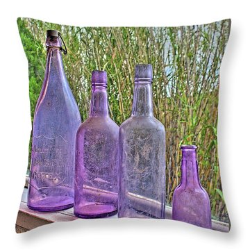 Old Bottle Collection Throw Pillow