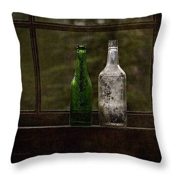 Old Bottles In Window Throw Pillow