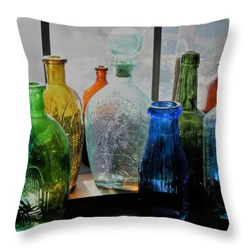 Old Bottles Throw Pillow by John Scates