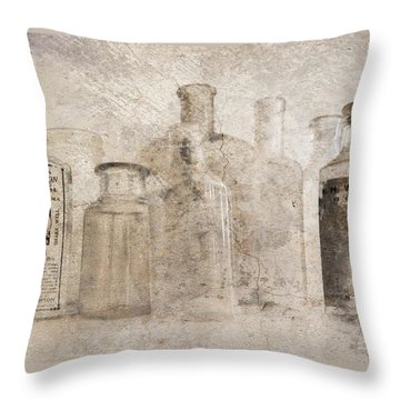 Old Bottles With Texture Throw Pillow