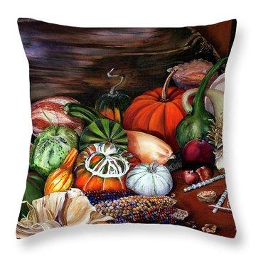 Old Bowl Cornucopia Throw Pillow