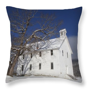 Old Boxley Community Building And Church In Winter Throw Pillow