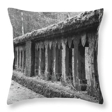Old Bridge In Black And White Throw Pillow by Angi Parks