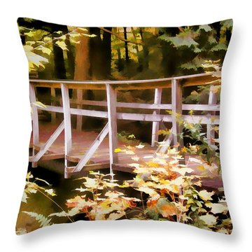 Old Bridge In The Woods In Color Throw Pillow