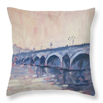 Old Bridge Of Maastricht In Warm Diffuse Autumn Light Throw Pillow by Nop Briex