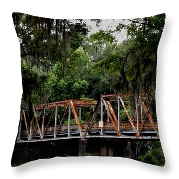 Old Bridge To Town Throw Pillow