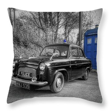 Old British Police Car And Tardis Throw Pillow