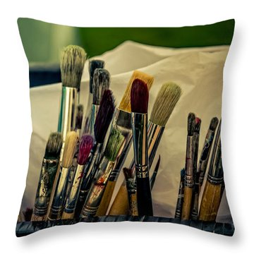 Old Brushes Throw Pillow