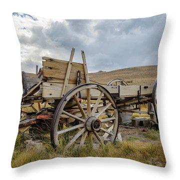 Old Buckboard Wagon Throw Pillow