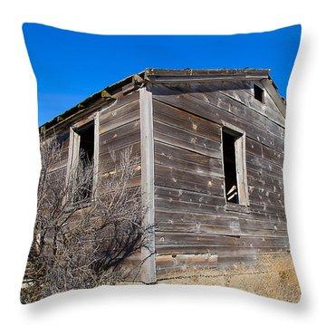 Old Cabin In Idaho, Usa Throw Pillow