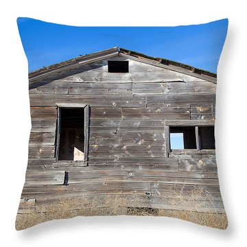 Old Cabin In Idaho, Usa Throw Pillow