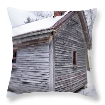 Old Cabin In The Snow Musterfield Farm North Sutton Throw Pillow