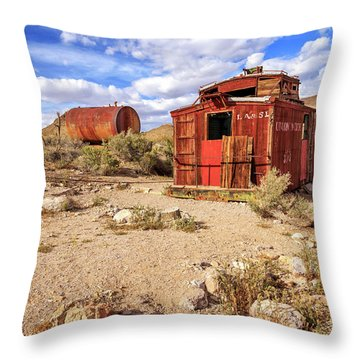Throw Pillow featuring the photograph Old Caboose At Rhyolite by James Eddy