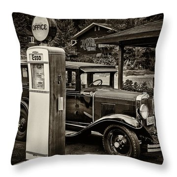 Old Car @ Gas Station Throw Pillow
