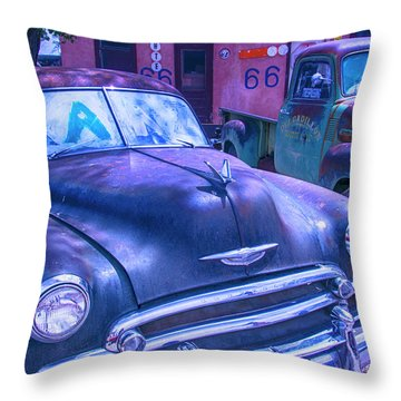 Old Car And Pickup Route 66 Throw Pillow