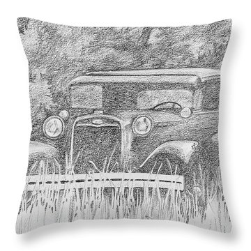 Old Car At Rest Throw Pillow