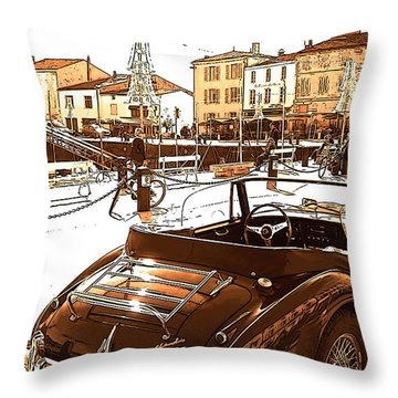 Old Car In Harbour Vilage Poster Throw Pillow