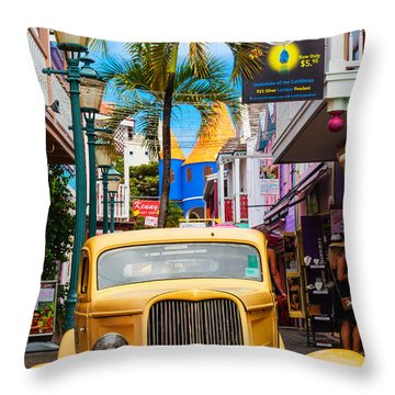 Old Car On Old Street Throw Pillow