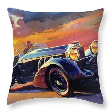 Old Car Racing Throw Pillow