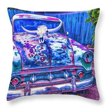 Old Car With Steer Skull Throw Pillow