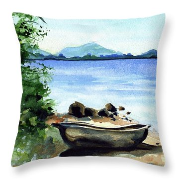 Throw Pillow featuring the painting Old Carved Boat At Lake Malawi by Dora Hathazi Mendes