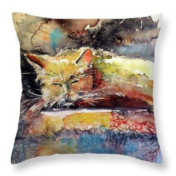 Old Cat Resting Throw Pillow by Kovacs Anna Brigitta