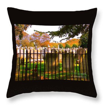 Throw Pillow featuring the photograph Old Cemetary In Newport Rhode Island by Becky Lupe