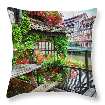 Throw Pillow featuring the photograph old center of Strasbourg by Ariadna De Raadt