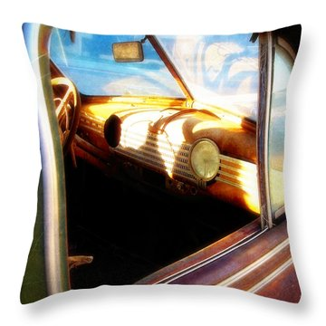 Throw Pillow featuring the photograph Old Chevrolet Dashboard by Glenn McCarthy Art and Photography