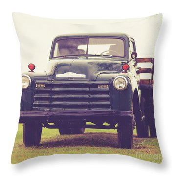Throw Pillow featuring the photograph Old Chevy Farm Truck In Vermont Square by Edward Fielding