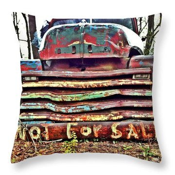 Old Chevy Truck With Graffiti Throw Pillow