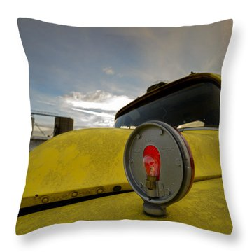 Old Chevy Truck With Grain Elevators In The Background Throw Pillow